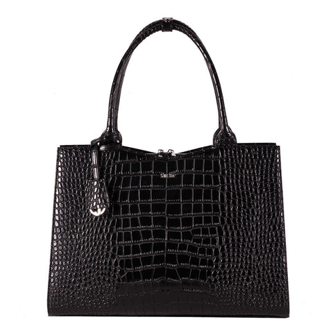 Mock-Croc Jet Black 15.6″ Womens Laptop Tote - Laptopbags.co.uk