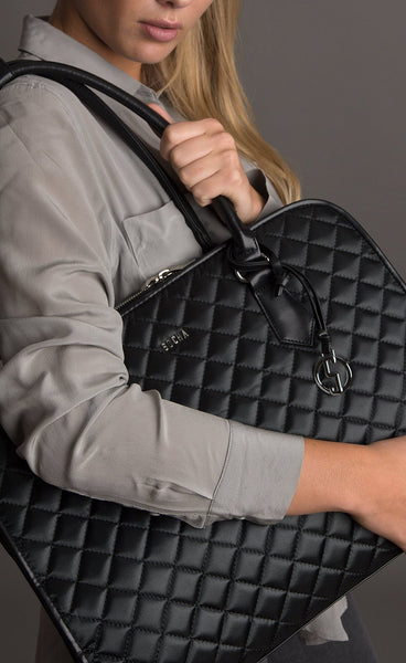 Socha 15.6 inch Black Diamond Womens Quilted Laptop Tote - Laptopbags.co.uk