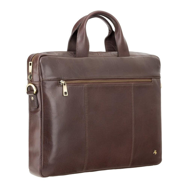"Charles 13"" Leather Laptop Briefcase- Brown - Laptopbags.co.uk"