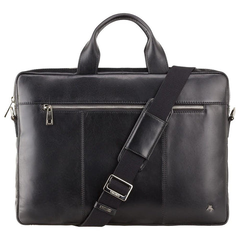 "Charles 13"" Leather Laptop Briefcase- Black - Laptopbags.co.uk"