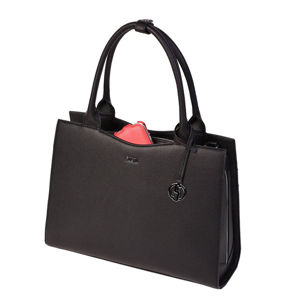 Deep Black Midi 13.3″ Womens Laptop Tote - Laptopbags.co.uk