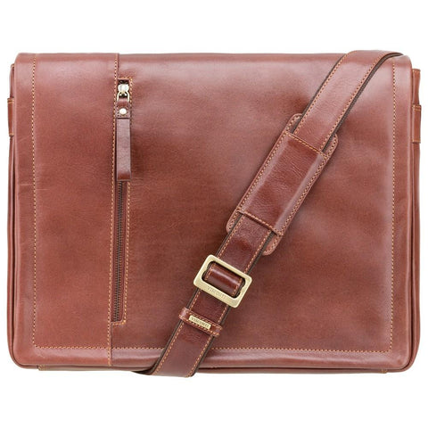 "Visconti Enzo 15.6"" Leather Laptop Messenger Bag - Laptopbags.co.uk"