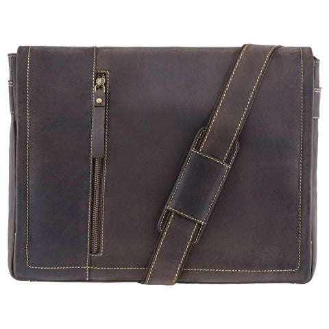 "Visconti Foster Large 15.6"" Leather Laptop Messenger Bag - Dark Brown - Laptopbags.co.uk"