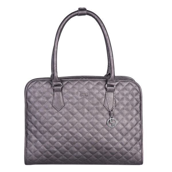 "Socha 15.6"" Diamond Quilted Laptop Tote- Grey - Laptopbags.co.uk"