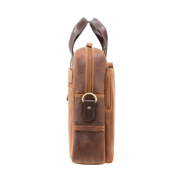 "Hugo - 15"" Leather Laptop Briefcase- Havana Tan - Laptopbags.co.uk"