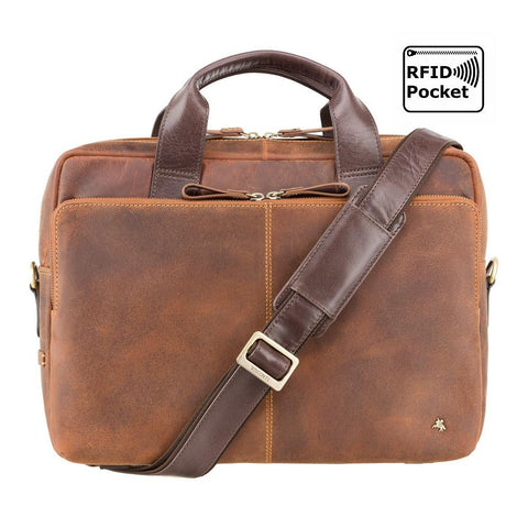 "Hugo - 13"" Leather Laptop Briefcase- Havana Tan - Laptopbags.co.uk"