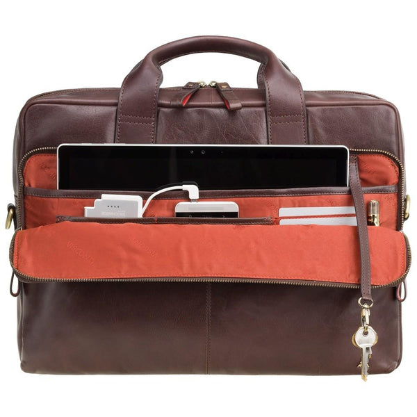 "Hugo - 15"" Leather Laptop Briefcase- Merlin Brown - Laptopbags.co.uk"