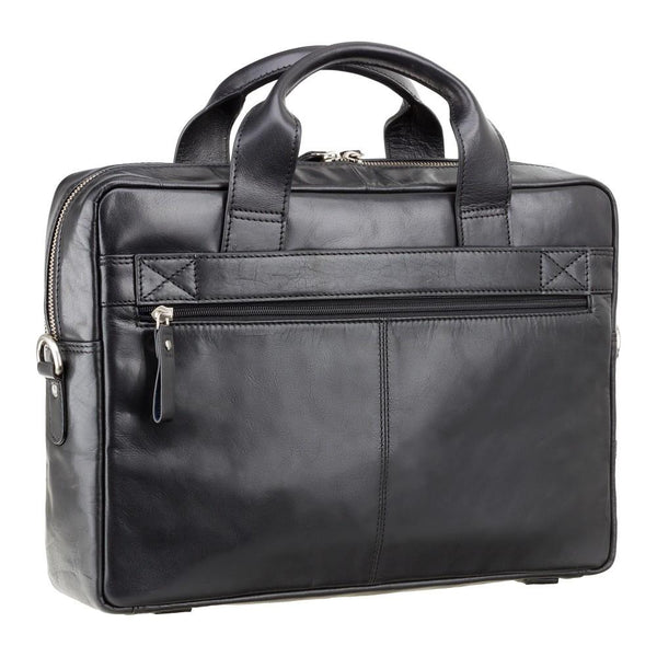 "Hugo - 13"" Leather Laptop Briefcase- Black - Laptopbags.co.uk"