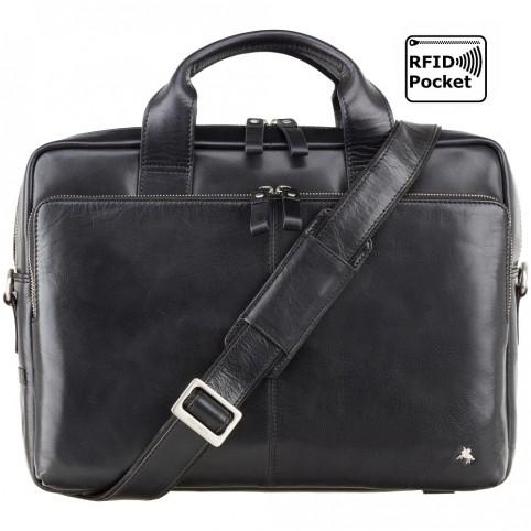 "Hugo - 15"" Leather Laptop Briefcase- Black - Laptopbags.co.uk"