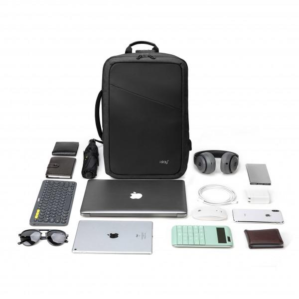 "i-stay 15.6"" Anti-theft Laptop - Tablet Backpack with USB port - Black - Laptopbags.co.uk"