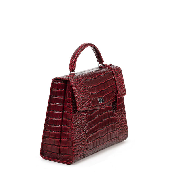 Audrey Mock-Croc Burgundy 13.3″ Womens Laptop Tote - Laptopbags.co.uk