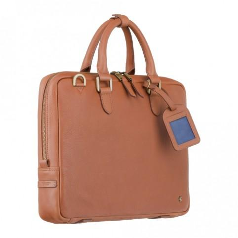 "Royce 13"" - Premium Slim Leather Laptop Case- Tan - Laptopbags.co.uk"