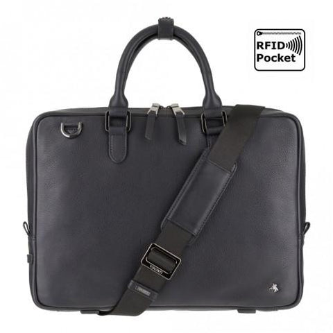 Royce 13 - Premium Slim Leather Laptop Case- Black - Laptopbags.co.uk