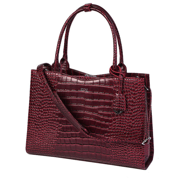 Croco Burgundy 15.6″ Womens Laptop Tote - Laptopbags.co.uk