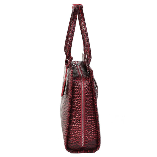 Mock-Croc Burgundy 15.6″ Womens Laptop Tote - Laptopbags.co.uk