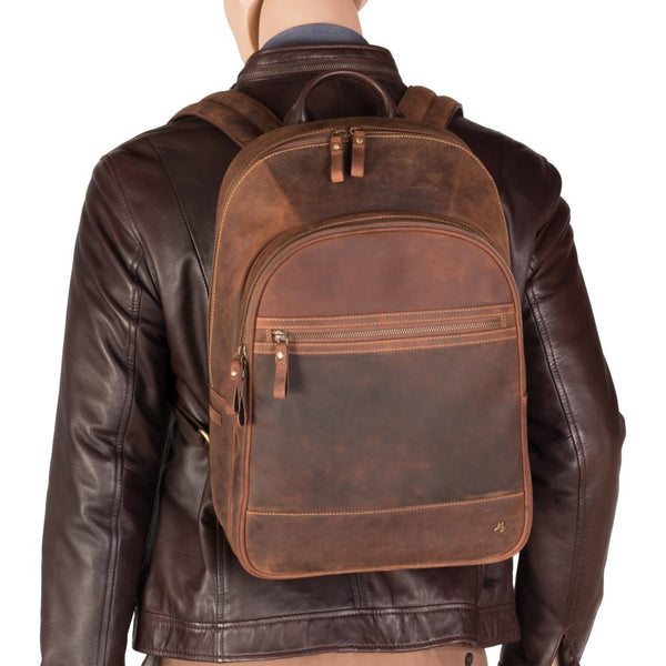 "Tank - 13"" Leather Laptop Backpack Havana Tan - Laptopbags.co.uk"