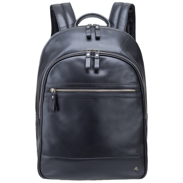 "Tank - 13"" Leather Laptop Backpack Black - Laptopbags.co.uk"
