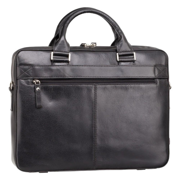 "Victor 13"" Leather Laptop Briefcase- Black - Laptopbags.co.uk"