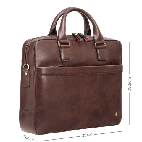 "Victor 13"" Leather Laptop Briefcase- Brown - Laptopbags.co.uk"
