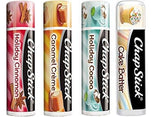 Chapstick Limited Edition Holiday 2017 Set of 4 - Caramel Crme, Holiday Cinnamon & Holiday Cocoa + Bonus Fan Favorite Chapstick in Cake Batter
