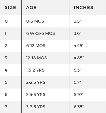 Freshly Picked Size Chart
