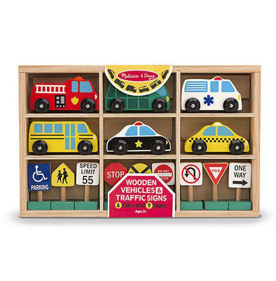 Melissa & Doug | Wooden Vehicles & Traffic Signs