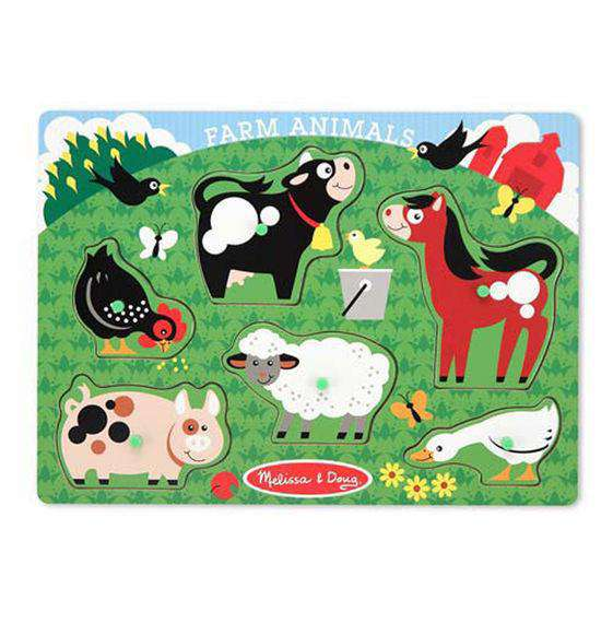 Melissa & Doug | Peg Puzzle | Farm Animals