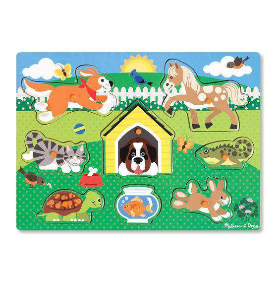 Melissa & Doug | Pets Peg Puzzle - 8 Pieces