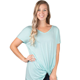 Simply Southern ~ Solid Blue Knot Tie Top