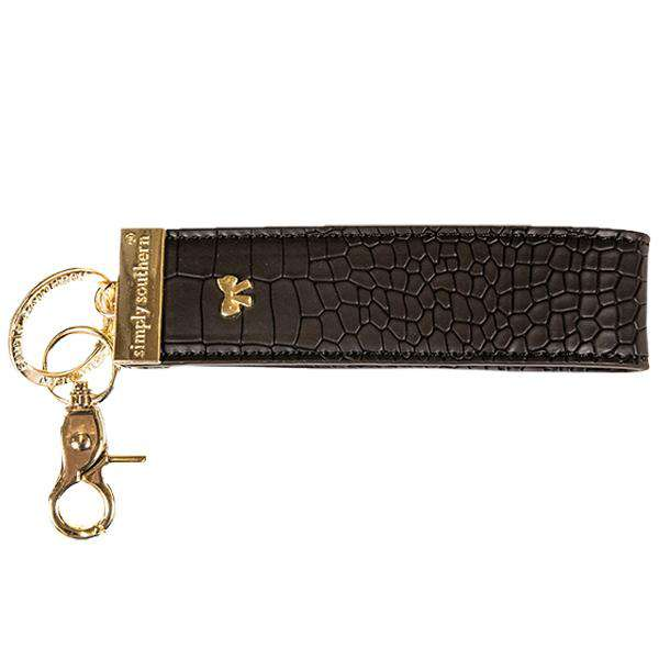 Simply Southern | Leather Keyfob ~ Black Alligator