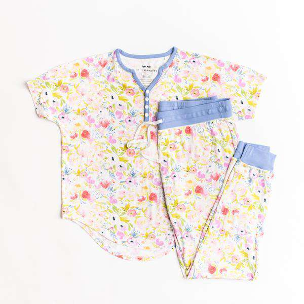 Little Sleepies - Watercolor Blooms Two-Piece Women's Bamboo Pajama Set