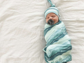 Copper Pearl |  Knit Swaddle Blanket ~ Waves
