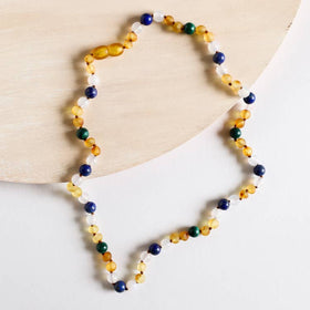 CanyonLeaf - Adult: Raw Honey Amber | Malachite + Lapis Necklace