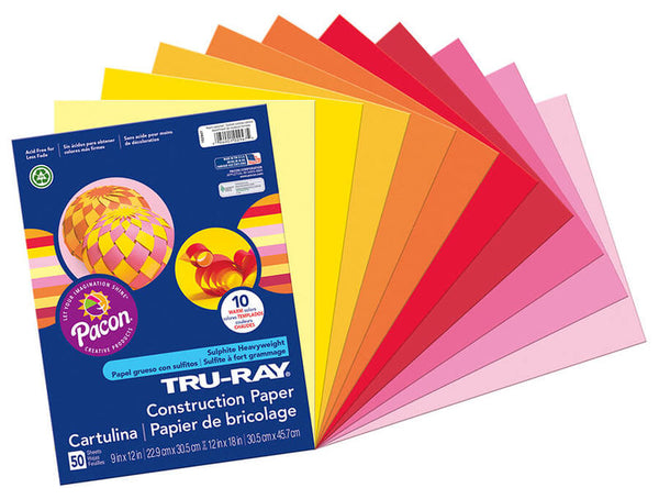 Tru-Ray | Assorted Warm Colors Construction Paper 9X12