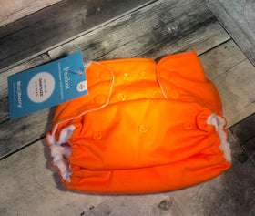 Blueberry Deluxe Pocket Diaper | One Size ~ Orange