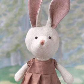 Hazel Village ~ Emma Rabbit In Clay Linen Dress