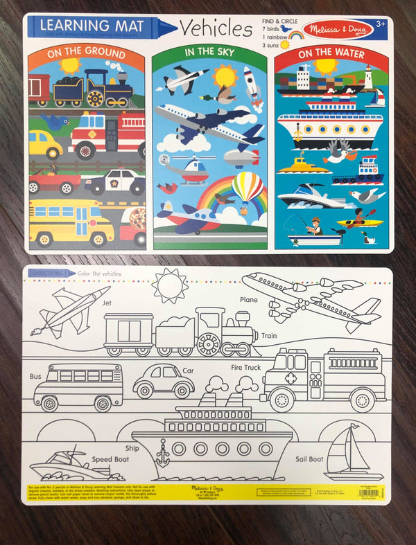 Melissa & Doug | Learning Mats ~ Vehicles