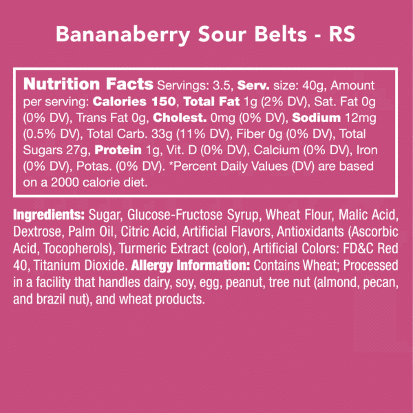 Candy Club ~ Bananaberry Sour Belts