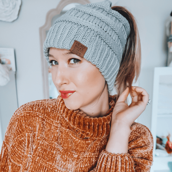 Headbands of Hope - Bun Beanie: Grey