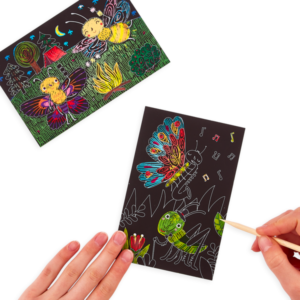 Ooly | bug buddies scratch and scribble mini scratch art kit
