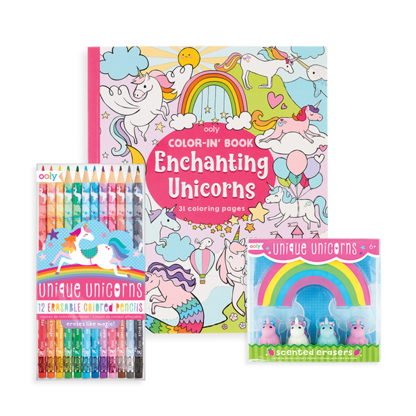 Ooly | unique unicorn erasable coloring giftables pack