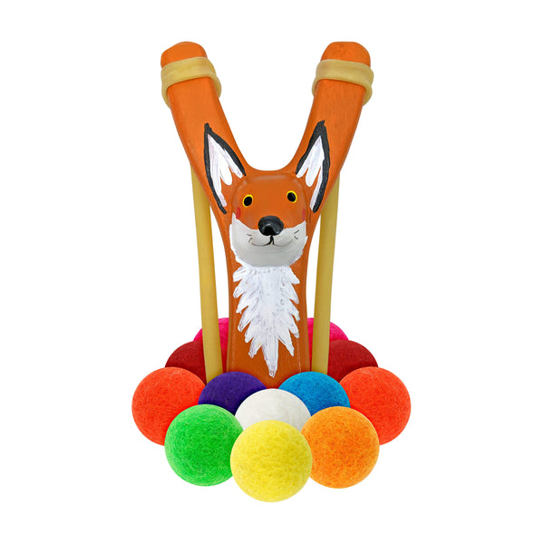 Hella Slingshot -  Wooden Fox Slingshot + Multicolored Felt Ammo