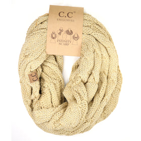 CC Beanie | Adult Metallic Infinity Scarf ~ Gold