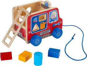 Haba ~ Fire Brigade Pulling Figure and Shape Sorter