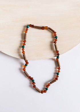 CanyonLeaf Hazelwood | Malachite + Raw Amber | Necklace