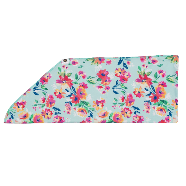 Bumblito Adult Tie On Headband ~ Aqua Floral