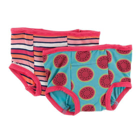 Kickee Pants Training Pants Set |  Botany Red Ginger Stripe and Neptune Watermelon