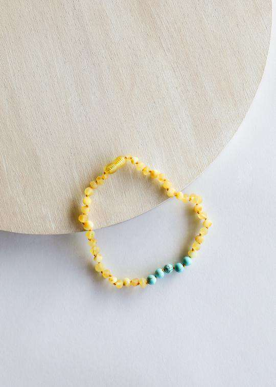 CanyonLeaf Raw Amber + Turquoise Howlite | Children's Necklace