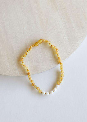 CanyonLeaf - Raw Amber + Pearls | Children's Necklace