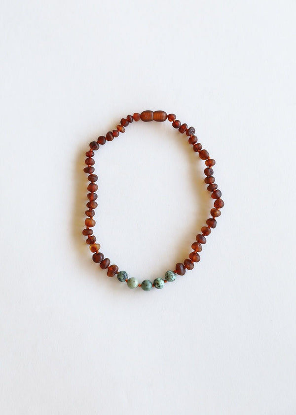 CanyonLeaf - ADULT: Raw Cognac Amber + Turquoise Jasper Necklace